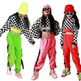 キッズ ダンス 衣装 キッズダンス衣装 子供 ヒップホップ ダンクトップ シャツ ギンガムチェック 男の子 サルエルパンツ 女の子 ダンス衣装 ジャズダンス ステージ衣装 チェック衣装