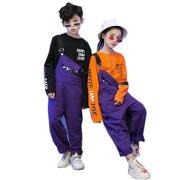HIPHOPダンス衣装キッズヒップホップダンスパンツダンス衣装キッズジャズサロペット子供オーバーオールサスペンダーパンツずぼん長袖シャツ上下セット