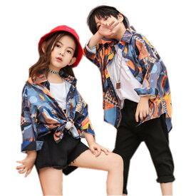 キッズ ダンス衣装 ヒップホップ HIPHOP 花柄シャツ Tシャツ ズボン 練習着 男の子 女の子 子供 ダンスシャツ ジャズダンス ステージ衣装着 110 120 130 140 150 160 170