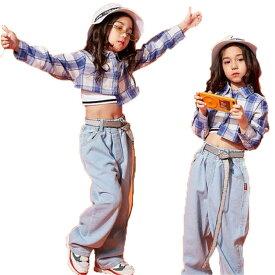 キッズ ダンス 衣装 キッズダンス衣装 HIPHOP ヒップホップ ギンガム チェックtシャツ 子供 ジーパン サルエルパンツ ジーンズ ジュニア ダンストップス キッズダンス 衣装 普段着