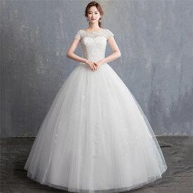 【送料無料】ウェディングドレス ロングドレス 格安 ウエディングドレス ドレス 二次会 花嫁 披露宴 結婚式 フォーマルドレス 編み上げタイプ 白 オシャレ S/M/L/XL/2XL