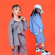 原宿系キッズダンス衣装ヒップホップダンスジャケットキッズジーンズ子供ジャケットキッズアウタージーパンジュニアロングパンツジャズダンスダメージ加工デニムジャケット