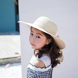 キッズ 子供 帽子 ハット 折りたたみ たためる ストローハット 麦わら帽子 つば広 女の子 日よけ 春夏 野外 日焼け防止 むぎわら アジャスター 蒸れにくい 涼しい