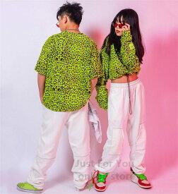 キッズ ダンス 衣装 豹柄 シャツ タンクトップ ダンス 衣装 ヒップホップ hiphop ジャッズ 子供服 上下セット 発表会 演出服 オシャレ ダンスウェア ゆったり