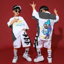 キッズ ダンス 衣装 ヒップホップ ダンス キッズ チアガールズ チアダンス パンツ ハーフパンツ 韓国 子供服 ダンスウェア 男女兼用 HIPHOP シャツ 練習用 ジャズダンス かっこいい