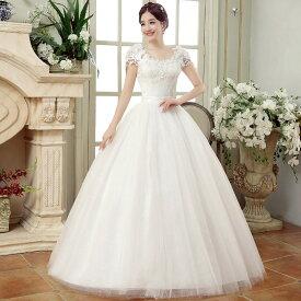 ウェディングドレス ロング 格安 ウエディングドレス 白 ドレス 二次会 花嫁 結婚式 ワンピース フォーマルドレス 編み上げタイプ 白 オシャレ S/M/L/XL/2XL/3XL