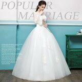 ロングドレス格安ウエディングドレス結婚式撮影フォト2次会花嫁ドレスウェディングドレスおしゃれ海外挙式ホワイト白WHITE前撮り後撮り