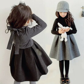 子供 ワンピース キッズ 長袖 韓国子供服 子どもドレス 女の子 ピアノ 発表会 合唱団 七五三 キッズ ワンピース ベビードレス 可愛い 黒ワンピ 裏起毛vs普通