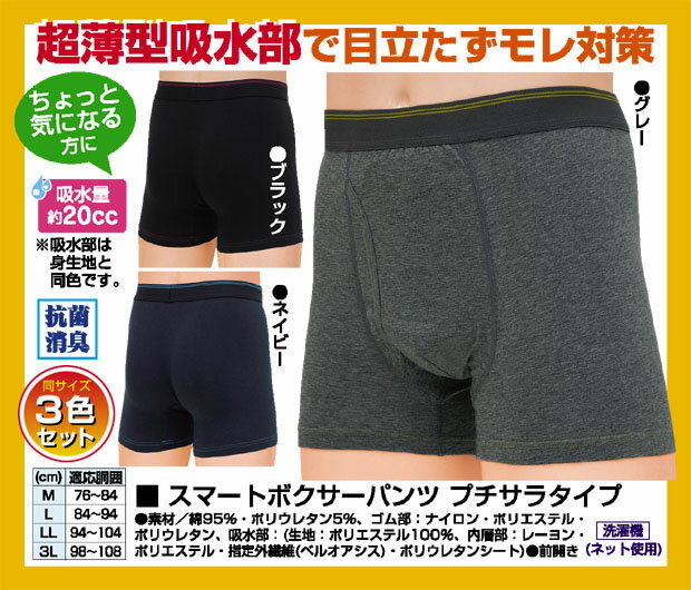 スマートボクサーパンツプチサラタイプ3色組 失禁パンツ 男性用 尿漏れパンツ 薄型 軽失禁 下着 前開き メンズ ブラック ネイビー
