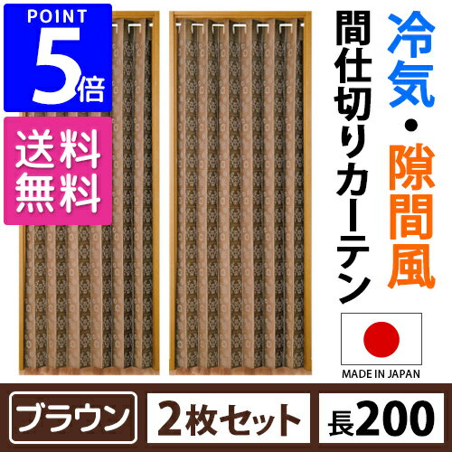 【2枚セット】 間仕切りサッとパタパタカーテン 100×200cm ブラウン