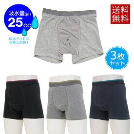 スマートボクサーパンツ プチサラタイプ3色組 尿漏れパンツ 失禁パンツ 男性用 薄型 軽失禁 下着 前開き メンズ ブラック ネイビー グレー セット