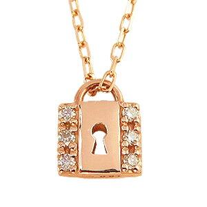 【あす楽】キーネックレス ペンダント ピンクゴールド K10 ダイヤモンド ネックレス 鍵 南京錠 key 10金 ネックレス レディース おすすめ プレゼント