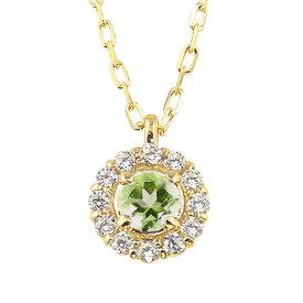 ペリドット 取り巻き ネックレス ダイヤモンド 8月誕生石 18金 ペンダント カラーストーン 誕生日 ネックレス レディース チェーン シンプル ホワイトデー プレゼント