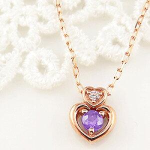 アメジスト ダブルハート ネックレス ダイヤモンド 2月誕生石 18金 ペンダント カラーストーン 誕生日 ネックレス レディース チェーン シンプル 新生活 在宅 ファッション