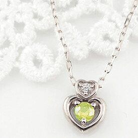 ペリドット ダブルハート ネックレス ダイヤモンド 8月誕生石 プラチナ Pt900 ペンダント カラーストーン 誕生日 ネックレス レディース チェーン シンプル ホワイトデー プレゼント
