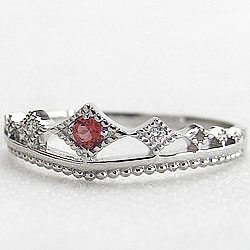 プラチナ ガーネットリング ティアラ 1月誕生石 指輪 カラーストーン プラチナ900 ダイヤモンドリング ピンキーリング ファランジリング ミディリング bs01 ギフト