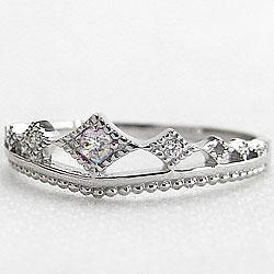 プラチナ ティアラリング ダイヤモンドリング 4月誕生石 Pt900 ピンキーリング 指輪 カラーストーン ピンキーリング ファランジリング ミディリング bs04ギフト