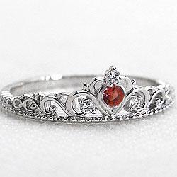 Pt900 ティアラ カラーストーンリング 1月誕生石 指輪 ガーネット プラチナ900 リング 誕生石 ピンキーリング ファランジリング ミディリング ダイヤモンド bs01 ギフト