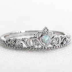 ティアラリング 指輪 プラチナ900 アクアマリンリング カラーストーン 3月誕生石 ピンキーリング Pt900 ダイヤモンド ファランジリング ミディリング bs03 ギフト