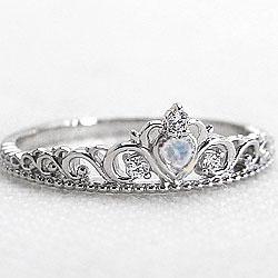 ティアラリング プラチナ カラーストーンリング ブルームーンストーン 6月誕生石 指輪 Pt900 ピンキーリング ダイヤモンド ファランジリング ミディリング bs06 ギフト