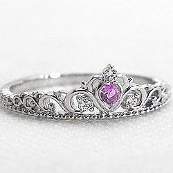 ティアラリング ピンクトルマリン 10月誕生石 プラチナ900 指輪 Pt900 カラーストーン ピンキーリング ダイヤモンド ファランジリング ミディリング bs10 ギフト