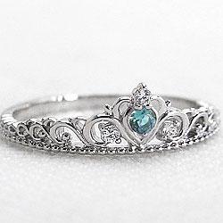 ティアラ ブルートパーズリング 11月誕生石 プラチナ900 指輪 ダイヤモンド カラーストーン ピンキー リング Pt900 ファランジリング ミディリング bs11 ギフト