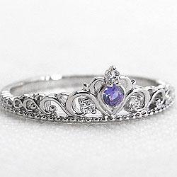 ティアラリング タンザナイトリング 12月誕生石 プラチナ 指輪 ダイヤモンド カラーストーン Pt900 ピンキーリング ファランジリング ミディリング bs12 ギフト
