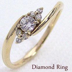 セブンストーンダイヤモンドリング イエローゴールドK10 10金 指輪 レディース 結婚記念日 エンゲージリング ボーナス プレゼント ギフト