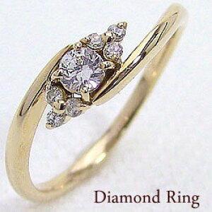 セブンストーンダイヤモンドリング イエローゴールドK10 10金 指輪 レディース ピンキーリング 結婚記念日 エンゲージリング クリスマス プレゼント ギフト