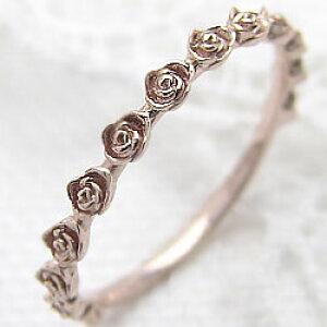 ローズリング バラ 指輪 10金 エタニティリング ピンクゴールドK10 薔薇指輪 ピンキーリング ファランジリング ミディリング レディース 究極 クリスマス プレゼント ギフト