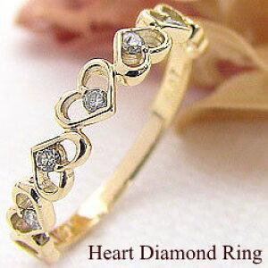 ハートリング ダイヤモンドリング 18金 指輪 イエローゴールドK18 ピンキーリング ファランジリング ミディリング レディースリング 結婚記念日 オシャレアイテム クリスマス プレゼント ギ