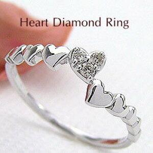 ハートリング ダイヤモンドリング 18金 指輪 ゴールドK18 ピンキーリング ファランジリング ミディリング K18WG 結婚記念日 誕生日 クリスマス クリスマス プレゼント ギフト