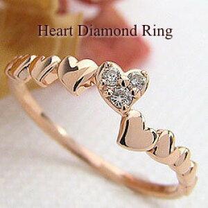 ハートリング ダイヤモンドリング 10金 指輪 ゴールドK10 ピンキーリング ファランジリング ミディリング K10PG レディースリング 結婚記念日 誕生日 クリスマス プレゼント ギフト