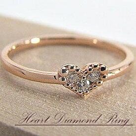 ハートリング スリーストーン ダイヤモンドリング 10金 ピンクゴールドK10 ピンキーリング ファランジリング ミディリング 指輪 贈り物 ギフト クリスマス プレゼント xmas