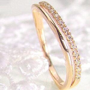 ダイヤモンドリング ウェーヴデザイン 2連 指輪 10金 1号〜 K10 ピンキーリング ファランジリング ミディリング クリスマス プレゼント ギフト