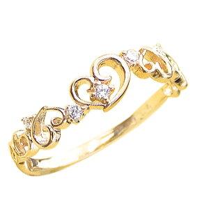 ハートリング ピンキーリング ダイヤモンドリング 18金 ハートモチーフ ピンキーリング ファランジリング ミディリング 指輪 ダイヤモンド K18 通販 おすすめ プレゼント