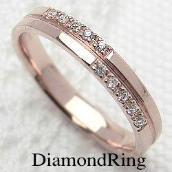 ダイヤモンドリング クロス ピンクゴールドK18 十字架 レディースリング K18 指輪 ジュエリーアイ ギフト