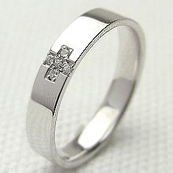 プラチナ クロス リング 天然 ダイヤ Pt900 十字架 diamond ring ジュエリー 指輪 結婚 記念日 誕生日 工房 直送 アクセサリー ギフト プレゼント