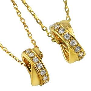 ペアネックレス シンプル ゴールド クロス ダイヤモンド サークル ペンダント 2本セット ネックレス K18 18金 チェーン ペア 婚約 結婚式 カップル ペアルック おすすめ プレゼント
