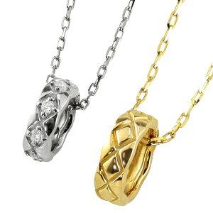 ペアネックレス シンプル ゴールド キルティングサークル ペンダント ダイヤモンド 2本セット ネックレス K18 18金 チェーン ペア 婚約 結婚式 カップル ペアルック ホワイトデー プレゼント