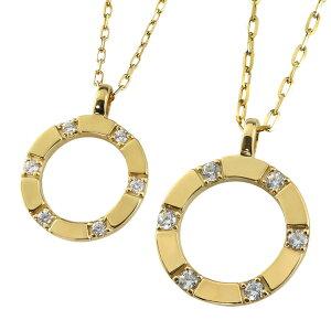 ペアネックレス シンプル ゴールド サークル ダイヤモンド ペンダント 2本セット ネックレス K10 10金 チェーン ペア 婚約 結婚式 カップル ペアルック おすすめ プレゼント