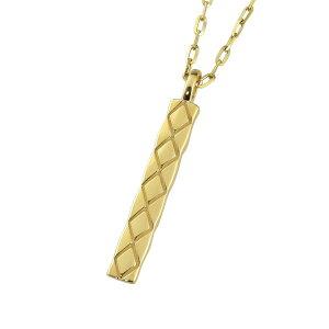 メンズネックレス 18金 K18 ゴールド キルティング プレート ペンダント シンプル チェーン アズキチェーン 50cm 1mm幅 地金 シンプル 男性用おすすめ プレゼント