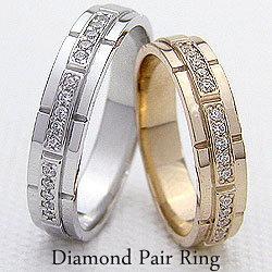 バンドデザインマリッジリング ダイヤモンド イエローゴールドK10 ホワイトゴールドK10 結婚式 アクセサリー 婚約 ジュエリーショップ ギフト