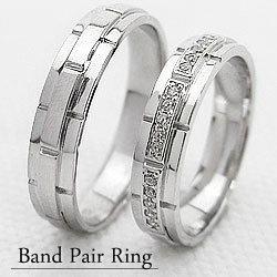 結婚指輪 バンド デザイン マリッジ リング ダイヤモンド ホワイトゴールドK18 ペアリング K18WG 2本セット 18金 文字入れ 刻印 可能 婚約 結婚式 ブライダル ウエディング ギフト