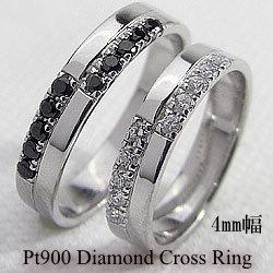 結婚指輪 プラチナ ペア プラチナ900 マリッジ リング クロスペア リング ブラック ダイヤモンド ダイヤモンド 2本セット 文字入れ 刻印 可能 婚約 結婚式 ブライダル ウエディング ギフト