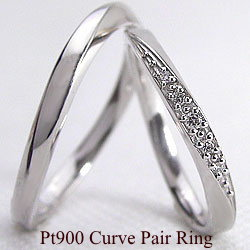 結婚指輪 プラチナ ペア ダイヤモンド マリッジリング ウェーブ カーブデザイン ペアリング Pt900 2本セット 文字入れ 刻印 可能 婚約 結婚式 ブライダル ウエディング ギフト