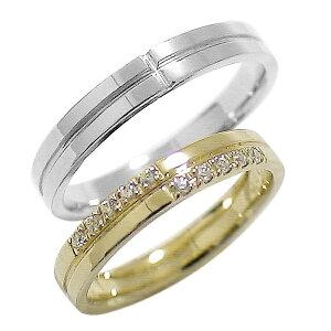 結婚指輪 ゴールド クロス ペアリング ダイヤモンド イエローゴールドK10 ホワイトゴールドK10 マリッジリング 十字架 10金 2本セット ペア 文字入れ 刻印 可能 婚約 結婚式 ブライダル ウエデ