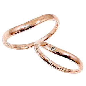 ペアリング ピンクゴールドK10 一粒ダイヤモンド 結婚指輪 刻印 文字入れ 可能 2本セット ブライダル 婚約 記念日 マリッジリング K10PG pairring ギフト 新生活 在宅 ファッション