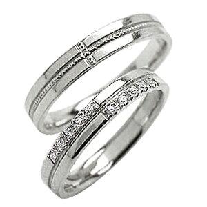 結婚指輪 ゴールド クロス ペアリング ダイヤモンド ミル打ち ホワイトゴールドK18 18金 十字架 マリッジリング 2本セット ペア 文字入れ 刻印 可能 婚約 結婚式 ブライダル ウエディング ギフ