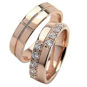 結婚指輪 ゴールド クロス ダイヤモンド 幅広 ペアリング ピンクゴールドK18 マリッジリング 18金 2本セット ペア 文字入れ 刻印 可能 婚約 結婚式 ブライダル ウエディング ギフト 新生活 在